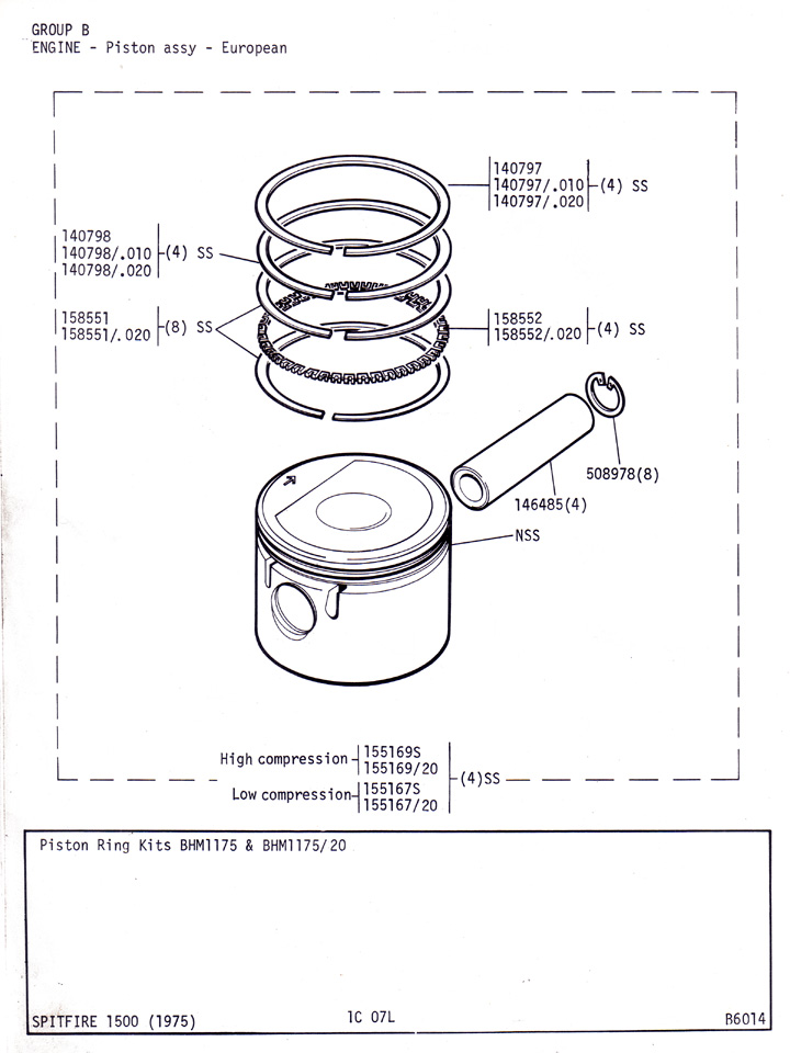 piston assembly european canley classics